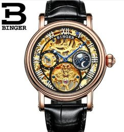 Wholesale Men Automatical Watch - Switzerland Binger Man Automatical Mechanical Watches Men Luxury Brand WristWatch Male Clock Leather Skeleton Casual Business Watch
