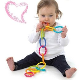 Wholesale Teether Rattle Set - Wholesale- Hot 6pcs Baby Teether Toy Baby Rattle Colorful Rainbow Rings Crib Bed Stroller Hanging Decoration Toys Gift for children Baby