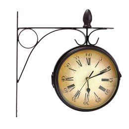 Wholesale Clocks European Vintage - Wholesale- Iron Double Side Vintage European Garden Courtyard Table Desktop Clock Decor Gift Black 310x320cm
