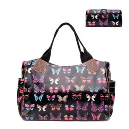 Wholesale Bronze Hobo Purse - Wholesale- 1 X Butterfly Day Shopper Tote Hang Bag + 1 X Butterfly Long Coin Purse Women Female Oilcloth Material Gift 1 Set