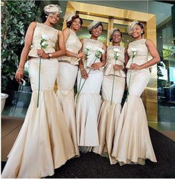 Wholesale Peplum Mermaid Dress For Prom - Champagne Lace Peplum Bridesmaid Dresses Mermaid Jewel Neckline Floor Length Satin Prom Dress For Formal Gowns