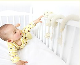 Wholesale Baby Doll Sheep - Wholesale- 14 cm Baby plush bed bell animal sheep crib bed revolves stuffed dolls crib hanging baby rattles lovely appease toys for kids