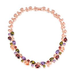 Wholesale Teardrop Swarovski Crystals - Women Statement Necklace Unique Rose Gold Teardrop Chain Large Swarovski Crystals Rose Gold Necklaces For Women 022-NE0070