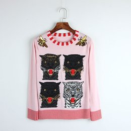 Wholesale Pink Sequin Sweater - Free Shipping 2017 Brand Same Style Sweater Pullover Long Sleeve Crew Neck Solid Sequins Embroidery Wool Pink Women Clothes 8F