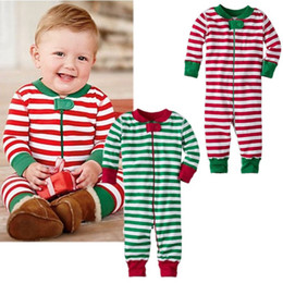 Wholesale Boy Christmas Clothes - 2016 newly Christmas Baby Boys Girls rompers winter autumn style Classic Stripe Cotton kids Romper sweet Sleepwear fashion Pajamas Clothes