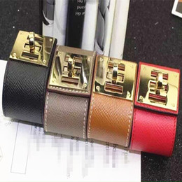 Wholesale Plated Gold Indian Bangles Set - Jewelry wholesale H wide leather bracelet wide leather buckle punk rotating star female leather bracelet