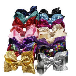 Wholesale Hair Clips Bows Lace Girls - 16 Style 6 inch Rainbow Sequin Hair Bow Bling bows Hair Clip Baby Girl Rainbow Bestie Jojo Bows