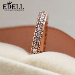 Wholesale Exquisite Silver 925 - EDELL Authentic 100%925 Sterling Silver Ring Rose Gold Princess With Crystal Rings Compatible With Pandora DIY Exquisite gift Jewelry