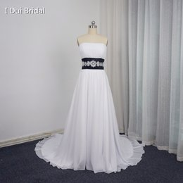 Wholesale Empire Strapless Beaded Court Dress - White Black Wedding Dresses A line Strapless Chiffon Beaded Sash Belt Popular Style Factory Custom Make K76