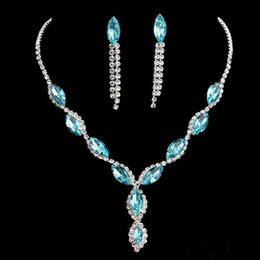 Wholesale Earring Bride Rhinestone Dropping - NEW 2017 luxury bright blue bride necklace earrings suit silver plated diamond wedding jewelry wholesale spot