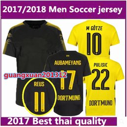 Wholesale Dortmund Football Shirt - Thai quality 2017 2018 Borussia Dortmund home soccer jersey 17 18 adult AUBAMEYANG GOTZE MOR KAGAWA REUS away football shirt