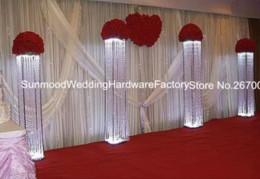 Wholesale Crystal Decorations Wholesale - Wedding walk way flower stand stage venue arylic crystal column pillar for wedding decoration