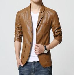 Wholesale Terno Plus Size Masculino - Wholesale- M-6XL 2016 New Style High Quality Leather Blazer Men BQ22 Plus Size Men Blazer Masculino Slim Fit Terno Masculino