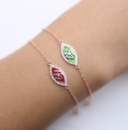 Wholesale Enamel Stamp - silver rose gold plated top quality fine 925 sterling silver stamp 925 green red enamel evil eye bracelet