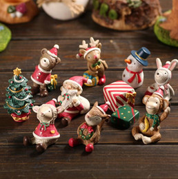 Wholesale Miniature Christmas Figures - Christmas Figure Toys Snowman Deer Sant Claus Christmas Tree Miniature figurine Decoration Garden Resin craft toy ornaments Gift KKA3163