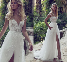 Wholesale sexy wedding dresse - Bohemian Lace Sexy 2017 Spaghetti Backless A-Line Wedding Dresses Sweetheart Illusion Appliques Tulle Split Sweep Train beach wedding dresse