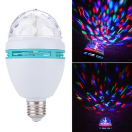 Wholesale Stage Light Lamps - E27 3W LED Mini RGB Crystal Auto Rotating LED Stage Light DJ Disco Club Lamp Bulb KTV Effect mini Stage lights