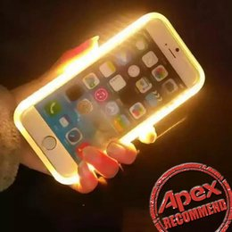 Wholesale Led Lights For Face - 2017 New LED Light Up Your Face Luminous Case Selfie light Cases For iphone 7 7plus 6s plus Galaxy S7 Edge S6 Note 7 With Retail Package