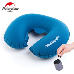 Wholesale Folding Outdoor Cushion - Wholesale- Naturehike Folding Inflatable U Shape Air Pillow Outdoor Travel Neck Blow Up Cushion Portable PVC Flocking Plane Pillows