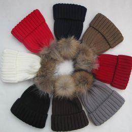 Wholesale Cheap Christmas Headwear - Winter Women Hats Caps Tight Knitted Beanie Skull Caps Raccoon Fur Pom Poms Hat Warm Cotton Cap Fashion Headwear Cheap Wholesale