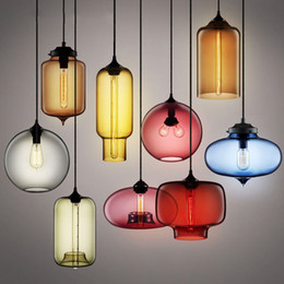Wholesale Brown Kitchens - Modern Art glass chandelier Ceiling Lamp Pendant Lights Glass Lampshade Loft Pendant Lamps E27 85V-265V Lighting Fixture