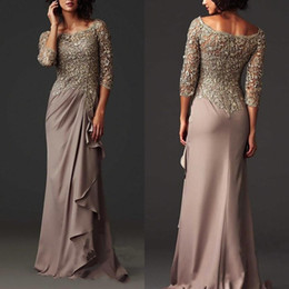 Wholesale Dress Chiffon Lilac Purple - Zuhair Murad Evening Dresses Elegant Sheer Lace Mother of the Bride Groom Dresses Formal Arabic Party Gowns with Long Sleeves Floor Length