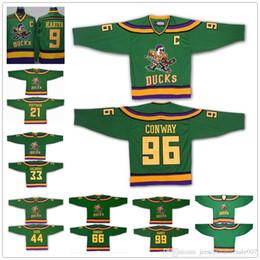 Mighty Ducks 96 Charlie Conway 99 Adam Banks 66 Gordon Bombay Hockey Jerseys  The Mighty Ducks Of Anaheim Men Movie Jersey Green S-3XL 2363ba516