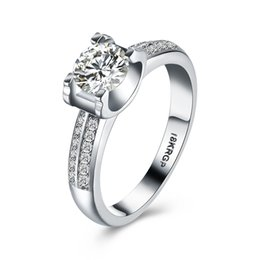 Wholesale Fasion Rings - new fasion jewelry real 925 sterling silver ring gold plated engagement wedding rings AAAAA Cubic zircon for women