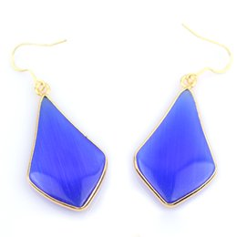 Wholesale Earring Ear Drop - musiling Jewelry Crystal Drop Earrings 18K Gold Plated Natural Stone Rhombus Ear Accessories Fashion Charms Jewelry For Women Gifts