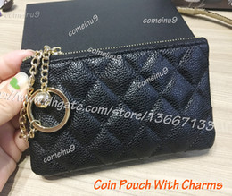 Wholesale Long Leather Key Chain - Comeinu9 Women's Black Caviar Zippy Wallets Key Holder 5A Quality Lambskin Strap wallets 2018 Coin Pouch Small with Metal Ball
