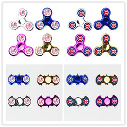 Wholesale Cubs Team - LED Light Chicago CUBS Fidget Spinner New York Yankees Hand Spinners Chrome with Switch 3 Models Different Flashing Colors Team logo DHL