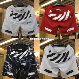 Wholesale Mens Cotton Casual Pants - High Quality Mens womens Shorts OFF WHITE version hipa Kanye Hip Hop West casual short pants Black white grey red shorts M-XL