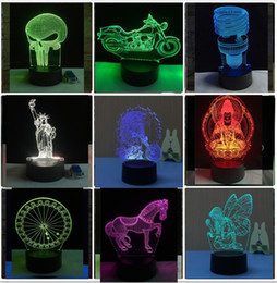 levou motocicleta roda luz Desconto New Fashion Novelty Long Mouth Skeleton Motorcycle Romantic Ferris Wheel Eagle 3D Colorful Gradient LED Child Kid Baby Bedroom Night Light