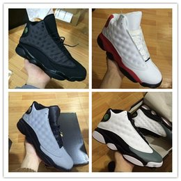 Wholesale Hologram Boots - High quality air retro 13 XIII MENS Basketball Shoes black cat Bred Navy Game hologram grey toe Flint Grey Athletics Sport Sneaker Boots