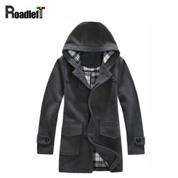 Wholesale Trench Jacket Suit - Wholesale- Male winter clothes wool & nylon blended long trench coat Men fashion parka windbreaker suit Mens brand casual hooded jacket