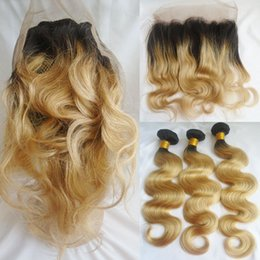Wholesale Two Color Frontal Closure - Two Tone T1b 27 Ombre Brazilian Hair Bundles With 360 Lace Frontal Body Wave Virgin Human Hair Weaves Closure Dark Root Honey Blonde