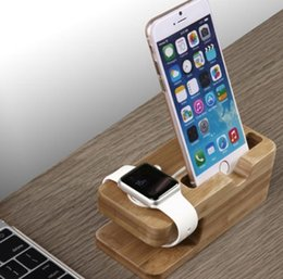 Wholesale Iphone 4s Charging Stand - 2016 New Bamboo Original Stand Charging Dock Station Bracket Accessories iPhone 4 4s 5 5s 5c 6 6plus and watch