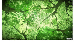 Зеленые листья онлайн-Зеленый лес листья научная фантастика обои 3D большая фреска случайные кафе ресторан гостиная фон обои