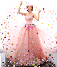 Wholesale Yellow Corset Costumes - New Arrival 2017 Flowers Strapless Pink Prom Dresses 2017 Beaded Corset Debutante Dress Long Evening Party Gowns Costume Semi Formal Gown