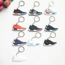Wholesale Sneaker Mini - Key Rings Mini Silicone NMD Keychain Bag Charm Woman Men Kids Key Ring Gifts Sneaker Key Holder Pendant Accessories
