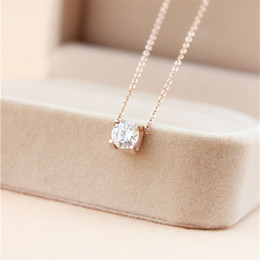Wholesale Stainless Chain Prices - 316L Titanium steel Best price pendant necklace with Super Cute Lucky One big square diamond for women wedding gift Jewelry PS5032