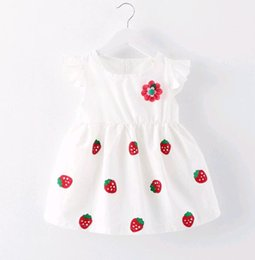 Wholesale Japanese Lolita - Hot Selling Summer Princess Dress Baby Girl White Strawberry Applique a flower Japanese baby kids skirt 0-3 years