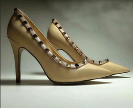 Wholesale Nude Rhinestone Heels - fashionville! b115 40 41 42 43 34 genuine leather pointy heels sexy work classic black nude