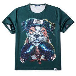 Wholesale 3xl Dog Clothing - Men's Plus Size T-shirts 2017 Summer Strong Man Cartoon Dog Print Tees Men Short Sleeve Tshirt Tops Men Hip Hop Clothing Size XL-6XL