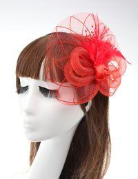 Wholesale Fascinator Headband Veil - Bride Hair Feather Flower Dress Hats Gauze Veil lady Headband Bridal Wedding Hats