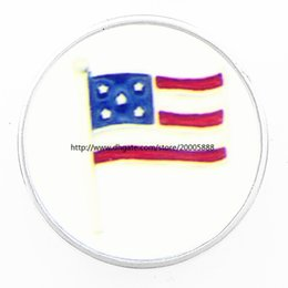 Wholesale Wholesale Lucite Bangles - 2017 newest fashion jewelry glass crystal American flag ginger snaps Bangles&Bracelets fit 18 MM snaps buttons Jewelry
