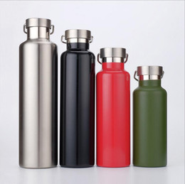 Wholesale Green Lids - Outdoor Sports Bottle Climbing Portable Large Capacity Water Bottles Stainless Steel Travel Thermal Cup Leak Proof Mugs 10pcs OOA2285