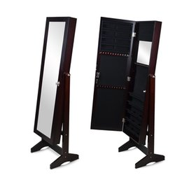 Wholesale Usa Doors - Mirror Jewelry Cabinet Jewerly Armoire Wall or Door Mount or Floor Standing Jewelry Stroage Organizer Stock in USA