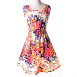Wholesale Sexy Women Tanks - Fashion Summer Women Beach Chiffon Black Dress Sleeveless Sundress Sexy Ladies Floral Tank Party Evening Mini Dress S-XXL Hot