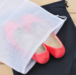 Wholesale Dust Free Clothes - Wholesale Non-woven Shoe Drawstring Travel Storage Shoe Dust-proof Tote Dust Bag Case White Pouch Tote Bag Dust-proof Shoe free shipping
